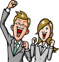Businessmen rejoice men and women of to raise your hand Stock Images