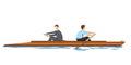 Businessmen rowing in opposition
