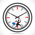Businessmen run in clock compete the time Royalty Free Stock Images