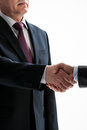 Businessmen shake hands isolated on white Stock Photos