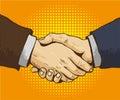 Businessmen shake hands vector illustration in retro pop art style. Partnership handshake concept poster in comic design