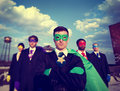 Businessmen Superhero Team Confidence Concepts Royalty Free Stock Photo