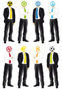 Businessmen with symbol heads Royalty Free Stock Photos