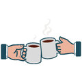 Businessmen toasting with coffee