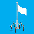 Businessmen white empty flag flagpole flat vector isometric 3d