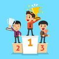 Businessmen winner standing on a podium and holding up winning trophies Royalty Free Stock Photo