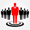 Businesspelple icon a businessman standing out from the crowd leadership recruitment and hr concept Royalty Free Stock Photography