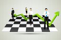 Businesspeople with arrow standing on chessboard easy to edit vector illustration of Royalty Free Stock Images