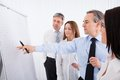 Businesspeople discussing project group of new on whiteboard Stock Photography