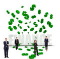 Businesspeople and dollar symbols Stock Photo