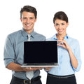 Businesspeople showing laptop happy young businessman and businesswoman isolated on white background Stock Photography