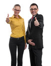 Businesspeople showing their thumbs up two isolated on white Royalty Free Stock Photos