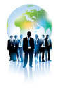 Businesspeople standing front large world map Royalty Free Stock Photo
