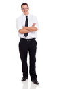 Businessperson arms crossed handsome with on white background Royalty Free Stock Images