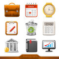 Businesss icons set three dimensional Stock Photos