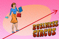 Businesswoman acrobat business circus Royalty Free Stock Photo
