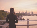 Businesswoman admiring sunrise in London Royalty Free Stock Photo
