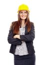 Businesswoman with arms folded and helmet on head successful isolated white background Stock Photos