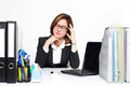 The businesswoman asian serious and busy with trouble her working business concept Royalty Free Stock Photos