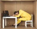 Businesswoman asleep at his desk at work Royalty Free Stock Photo