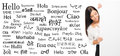 Businesswoman on a background of different languages