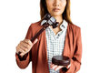 Businesswoman banging a law hammer on the gavel Royalty Free Stock Photo