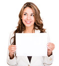 Businesswoman with a banner ad Stock Photography