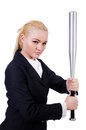 Businesswoman with baseball bat on white Royalty Free Stock Image