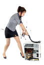 Businesswoman beating computer Stock Photo