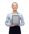 Businesswoman with blank black tablet pc screen business technology internet and advertisement concept smiling computer Royalty Free Stock Images