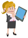 Businesswoman buddy with computer tablet illustration of calculating her business activities on her snazzy Stock Images