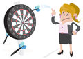 Businesswoman buddy misses the target llustration of missing with her huge darts on dartboard Stock Photo