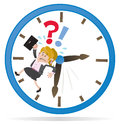 Businesswoman buddy is running out of time illustration a clearly very distressed as she in her giant metaphorical clock Stock Images