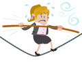 Businesswoman buddy walks the tightrope illustration of business walking high wire whilst holding onto her pole for dear life Royalty Free Stock Images