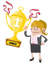 Businesswoman buddy wins illustration of a who has won a first prize trophy for her super skills in business Stock Images