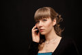 Businesswoman calling by phone beautiful Stock Photography