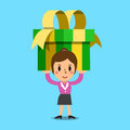 Businesswoman carrying a big gift box