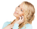 Businesswoman with cell phone calling communication and technology concept making a call Stock Photos