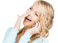 Businesswoman with cell phone calling communication and technology concept making a call Royalty Free Stock Image
