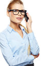 Businesswoman with cell phone happy smiling successful Stock Photography