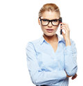 Businesswoman with cell phone happy smiling successful Stock Photos