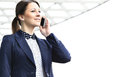 Businesswoman on cellphone outdoor talking smart phone Stock Photos