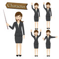 Businesswoman character set vector  illustration Royalty Free Stock Photo
