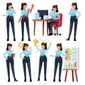 stock image of  Businesswoman characters. Young business woman professional working in office. Girl employee cartoon vector set