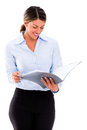Businesswoman checking documents Stock Photos