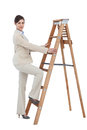 Businesswoman climbing career ladder on white background Royalty Free Stock Photography