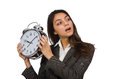 Businesswoman with clock missing her deadlines stock photography concept for usage Royalty Free Stock Photography