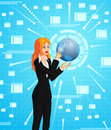 Businesswoman connecting to globe a conceptual vector illustration of a the Royalty Free Stock Photography