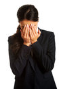 Businesswoman covering her face Royalty Free Stock Photo