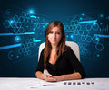 Businesswoman doing paperwork with futuristic background young Stock Photo